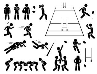 Rugby Player Actions Poses Cliparts