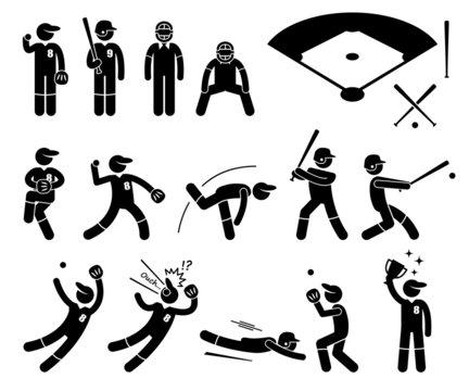 Baseball Player Actions Poses Cliparts