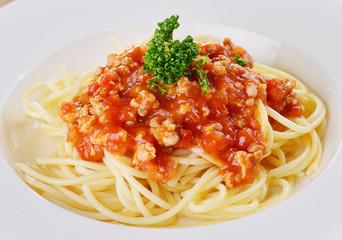 spaghetti pasta with tomato sauce.