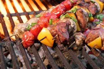 Barbecue Beef Kebabs On The Hot Grill Close-up
