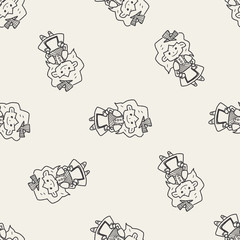 alice in wonderland doodle seamless pattern background
