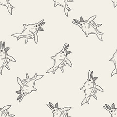 fish dinosaur doodle seamless pattern background