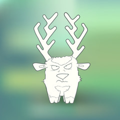 Vector Illustration Hand-drawn angry deer with long horns on