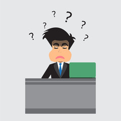 Businessman With Confusion. Vector Illustration