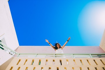 girl walking on stairs in hotel room