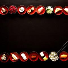 Sushi,chrysanthemum and chopsticks