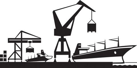 Cargo terminal port - vector illustration