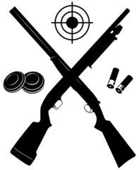 Vector target with two shotguns and ammunition and plates
