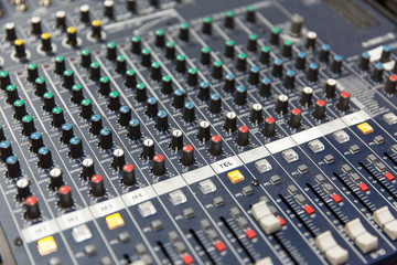 control panel at recording studio or radio station