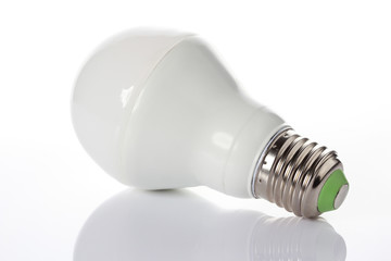 LED energy saving bulb on white background.