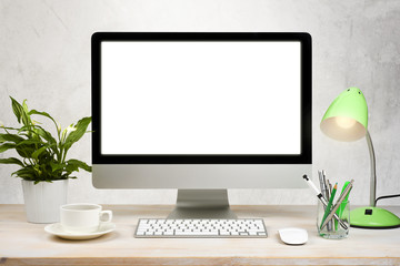 Workspace background with desktop pc and office accessories