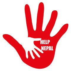 Hand with message Help Nepal on white background