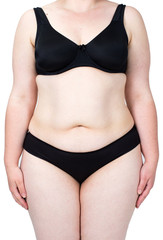Obese neglected body isolated over white background. Woman showing her fat body. Healthy lifestyles concept.