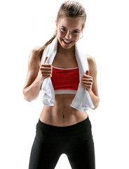 Fitness woman sweating. Beautiful sport girl with towel