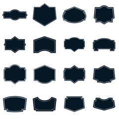 Set of vector labels shapes with light borders