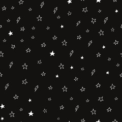 Hand drawn seamless doodle pattern of stars and lightnings