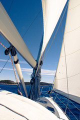 Sailing yacht on a cruise deck view