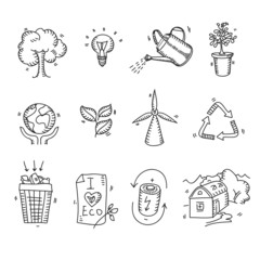 Hand drawn doodle sketch ecology organic icons eco and bio