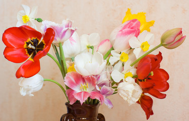 Bouquet of fading  tulips and narcissus in a vase
