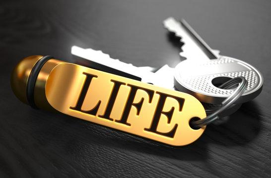 Life written on Golden Keyring.