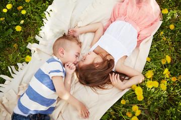 Girl lying with the boy