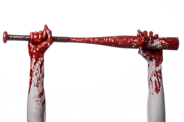 bloody hand holding a baseball bat, a bloody baseball bat