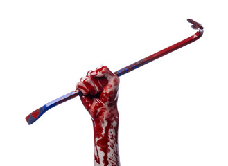 Bloody hands with a crowbar, hand hook, white background