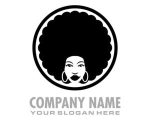 afro girl logo image vector