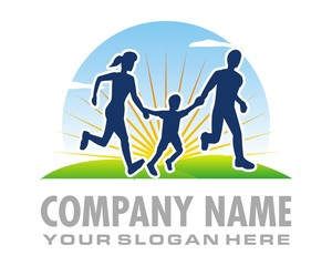 morning run family logo image vector