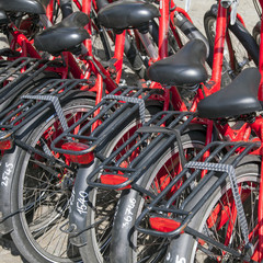 red rental bicycles in amsterdam