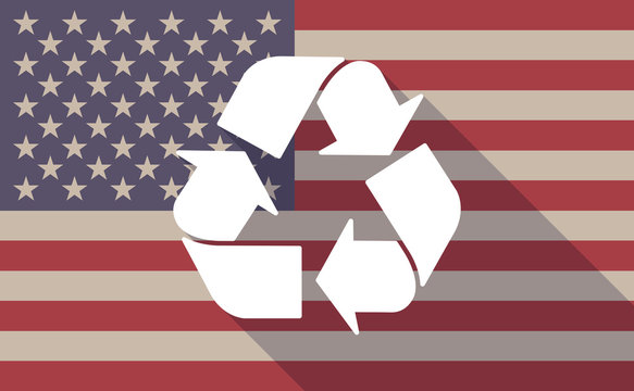 USA flag icon with a recycle sign