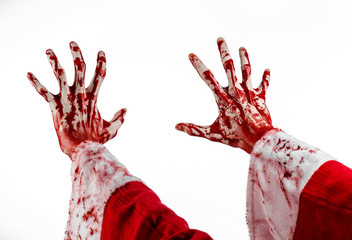 Santa Zombie bloody hand on a white background