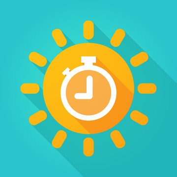 Long shadow sun icon with a timer