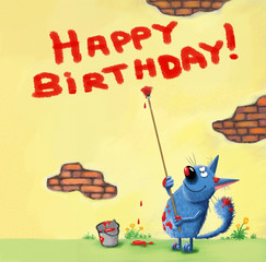 Happy Birthday Card Cat Writing on the Wall