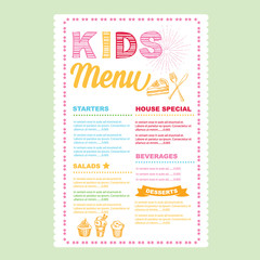 Kids menu. Vector template.
