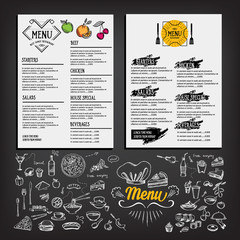 Food menu, restaurant template design. Flyer cafe.