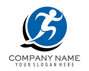 silhouettes of people running logo image vector