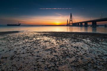Malaysia, Johor, Johor Bahru, Lebuhraya Senai-Desaru, Bridge at Desaru Highway