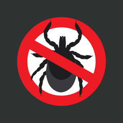 vector image of a tick in a red crossed-out circle - ticks stop