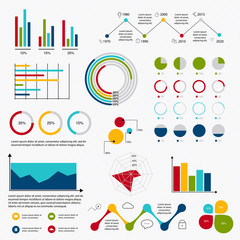 Business data market elements dot bar pie charts diagrams and gr