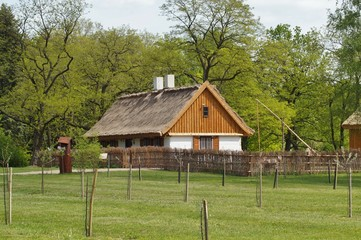 Farm, wooden and brick buildings of the area of the museum