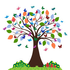Butterflies fly around the tree