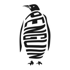 Silhouette of penguin with concept word inside