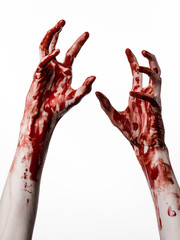 bloody hands killer zombie isolated on white background