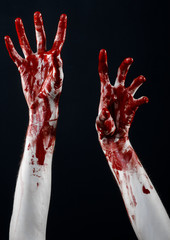 bloody hands killer zombie isolated on black background