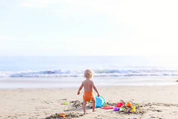 Rear view of toddler playing on beach