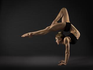 Acrobat Performer, Circus Woman Hand Stand, Gymnastics Back Bend