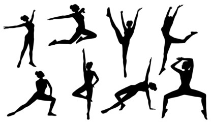 Silhouette Poses, Woman Aerobics Fitness on White Background, Se