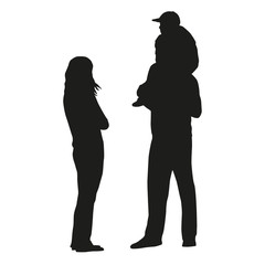 Family. Vector silhouettes. Mother, father, son, daughter