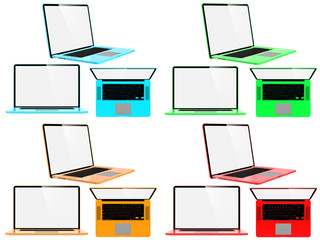 Set of Color Modern Laptops.